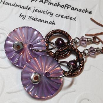 Purple Freshwater Pearl and Button Earrings