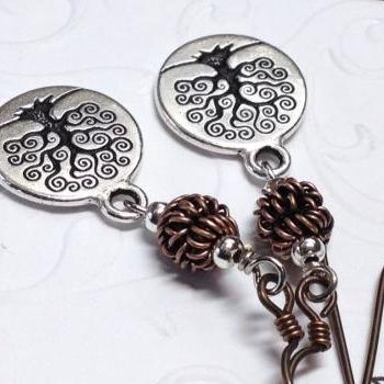 Tree of Life Coin Earrings, Engraved Tree, Celtic Tree Earrings, Tree of life Earrings, Niobium Earwires,Tree Art, Mini Tree Pendants