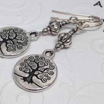 Tree of Life Coin Earrings, Engraved Tree, Celtic Tree Earrings, Tree of life Earrings,Tree Art, Mini Tree Pendants